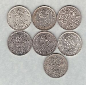 SEVEN SIXPENCES 1936/1937/1942/1945/1949/1953 & 1955 IN NEAR MINT CONDITION