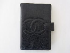 Auth WS16 CHANEL caviar skin mini agenda with serial seal from Japan
