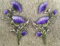 5094P Thistle - Carnation Spray - Purple Flower Embroidery Appliqué Patch /Pair