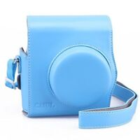 Vintage Fujifilm Instax Mini 8 8+ 9 Case Soft PU Leather Film Count Show, Blue