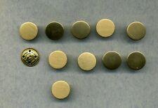 5 dezent strukturierte matt goldfarbene Vierloch Metall Knöpfe 2454go