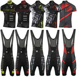 DEKO Mens Cycling Jersey Half Sleeve Bike Racing Top + Cycling Bib shorts set