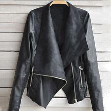 Fashion Vintage Women Biker Motorcycle Leather Zipper Jacket Coat BK XL