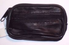 Black Leather Coin Purse / Mini Wallet / Key Pouch - 2 Zip Sections - Belt Loop