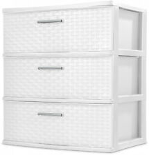 3 Drawer Storage Organizer Wide Sterilite Weave Cabinet Box Container White NEW