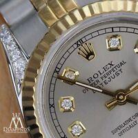 Rolex 26mm Datejust 2 Tone Grey Diamond Dial 18K & Stainless Steel Jubilee Watch