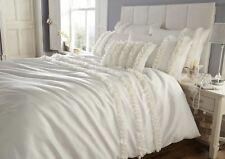 Diamante Ruffle Pleated Faux Silk Super King Duvet Cover Bedding Set Lille Cream