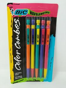 BIC Wavelengths Color Combos 1993 Neon Mechanical Pencil 0.7mm 5 Pack #2 VTG 90s