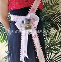 Baby Shower Mom To Be It's a Girl Sash Pink Elephant Safari Ribbon Corsage Noahs