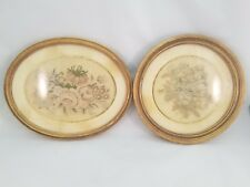Set of 2 Gorgeous Vintage Framed Embroideries - Floral Pattern