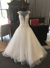 David Tutera NWT Ivory Lace Tulle Drop Waist Ball Gown Wedding Dress Size 10