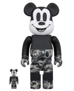 MEDICOM TOY × BAPE BE@RBRICK Mickey Mouse Monotone ver. 100% 400% from Japan New