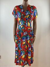 SHELANA London Red Floral Vintage Style Tea Dress Size 12