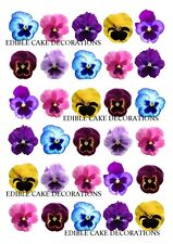 30 PANSY FLOWER MIXED COLOURS Cupcake Fairy Cake Topper Edible Paper Decoration