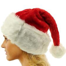 Merry Christmas Santa Claus Unisex Furry Fuzzy Holiday Party Pom Pom Cap Hat Red
