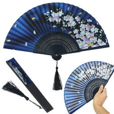 Chinese Japanese Hand Held Folding Silk Blend Bamboo Art Crafts Wedding Fan