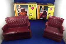 Doll Furniture Sindy/Barbie Arm Chair and Love Seat All Ages Marx Toys Playtime