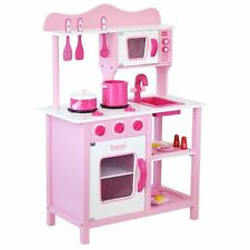 Childrens Kids Pink Wooden Toy Play Kitchen with 20 piece Accessories Pretend