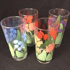Anchor Hocking Greenhouse 1983 CHD Nina Floral Glasses Tumblers 14 oz
