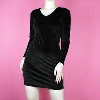 VINTAGE 80s 90s Black Wiggle Velvet Mini Stretch Goth Bodycon Mini Dress S 8