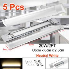 5X 60Cm 2Ft Led Linear Batten Tube Light Ceiling Fixture Neutral White Bar Lamp