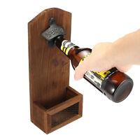 Antique Beer Bottle Opener Glass Drink Cap Catcher Wall Mount Iron Pub Bar Tool