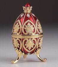 Red Faberge Egg Trinket Box & Clock Handmade by Keren Kopal Austrian  Crystals