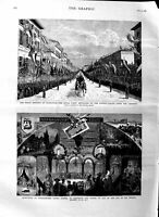 Old Antique Print 1884 Royal Wedding Darmstadt Ludwig Palace Normanhurst 19th