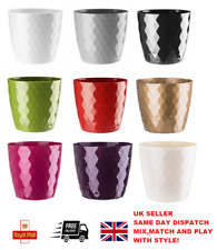 More details for flowerpot round plastic plant pot crystal modern decorative small medium large
