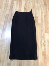 Classic Wardrobe Essential Long Black Tailored Fully Lined Skirt W/Kick Slit 8?
