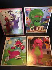 B25) Lot Of 4 Vintage Wooden Playskool Puzzles Barney & Teletubbies