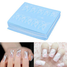48 Sheets Flowers Lace Nail Art Water Transfer Decals Stickers White Decor GT