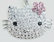 Charm Silver Necklace 16 inch Hello Kitty Pink Bow Large