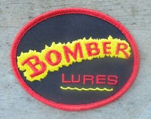 """1-BOMBER FISHING LURES CLOTH IRON-ON PATCH  3.5 BY 2.75"""""""