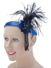 Blue Sequin Feather Headband Flapper Charleston 1920's Fancy Dress Gatsby New