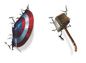 3D Cracked Wall Stickers Avengers Captain America Shield or Thor Hammer Vinyl UK