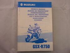 SUZUKI GSX-R750 SRAD 1998 OWNER MANUAL FAHERHANDBUCH HANDLEIDING