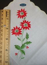 Vintage Christmas Ladies Handkerchief Embroidered Poinsettia w/ Yellow Edge