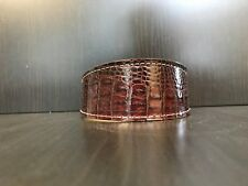 S/M Leather Dog Collar LINED Greyhound Whippet Saluki MAHOGANY REPTILE PATTERN