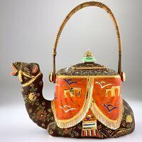 Satsuma Camel Teapot Broken Wicker Handle Early 1920s Japanese Moriage U294