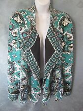 Chicos Scarf Print Open Front Blazer Size 16 Tag Size 3