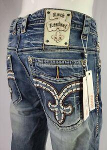 Rock Revival Straight Stretch Cotton Buckle Men's Denim Shorts 32,34,36,38,40,42