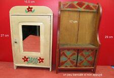 buffet ancien meuble armoire de poupée vintage, lot de 2