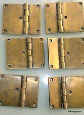 "6 cast hinges vintage age style solid Brass DOOR BOX restore heavy 3"" screws B"