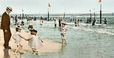 In The Surf At Rockaway Beach, Vintage Seaside Photo