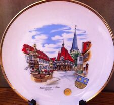 Ws Germany City Michelstadt i:Odw. Rathaus Painted Decorative Plate Gold Rim