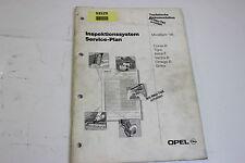 Opel 1996 Serviceplan Abgastest Technik Service Handbuch Werkstatthandbuch