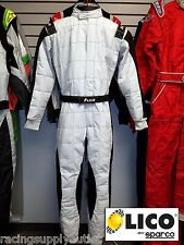 Sparco/Lico  Go Kart Racing Suit FIA Silver/Black  Size XXXLarge 66 [In the USA]