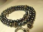 """HIGH LUSTER-AAA-TAIHITIAN-PEARL NECKLACE-18"""" STERLING TOGGLE 4-5mm BLACK BLUE"""