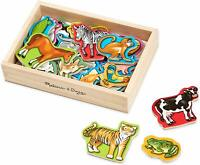 20 Wooden Animal Magnets Set Durable Storage Case Educational Developmental Toy